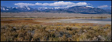 Sagebrush plain and Snake range rising above desert. Great Basin National Park (Panoramic color)