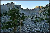 Rock bound cirque of Wheeler Peak, sunrise. Great Basin National Park, Nevada, USA.