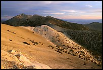 Wheeler Peak and Snake range seen from Mt Washington, sunrise. Great Basin National Park, Nevada, USA. (color)