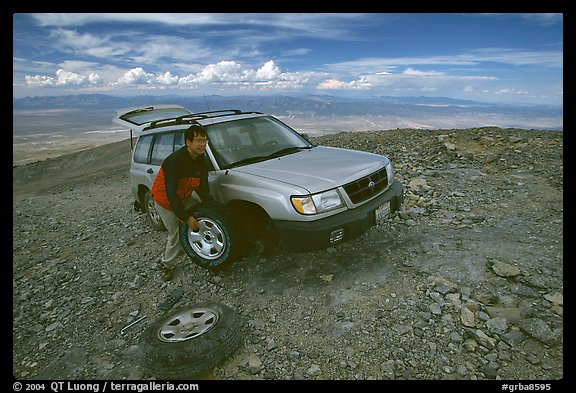 Flat tire on Mt Washington. Great Basin National Park, Nevada, USA.
