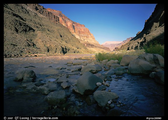 Bottom of Grand Canyon with Tapeats Creek joining the Colorado River. Grand Canyon  National Park (color)