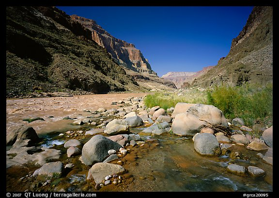 Confluence of Tapeats Creek and the Colorado River. Grand Canyon  National Park (color)