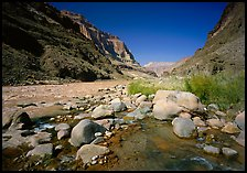 Confluence of Tapeats Creek and  Colorado River in autumn. Grand Canyon National Park, Arizona, USA.