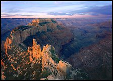 View of Wotans Throne from Cape Royal at sunrise. Grand Canyon National Park, Arizona, USA.