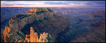 Wotan's Throne at sunrise. Grand Canyon National Park (Panoramic color)