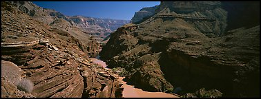 Colorado River flowing through gorge at narrowest point. Grand Canyon National Park (Panoramic color)