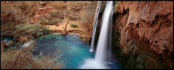 Havasu Fall and turquoise pool. Grand Canyon National Park (Panoramic color)