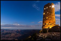 Desert View Watchtower at night. Grand Canyon National Park ( color)