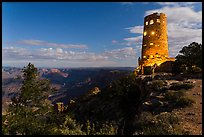 Mary Jane Colter Desert View Watchtower at night. Grand Canyon National Park ( color)