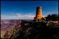 Desert View Watchtower and moonlit canyon. Grand Canyon National Park ( color)