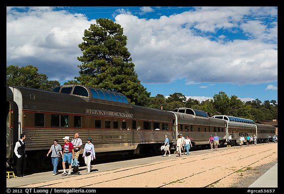 Passengers board Grand Canyon train. Grand Canyon National Park (color)