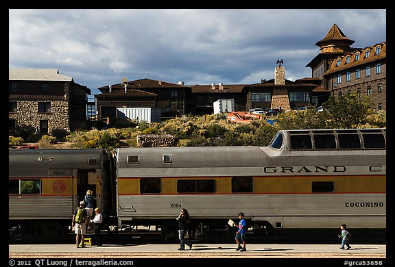 Grand Canyon train and El Tovar Hotel. Grand Canyon National Park (color)