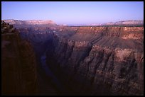 Narrow gorge of  Colorado River at Toroweap, dusk. Grand Canyon National Park, Arizona, USA.