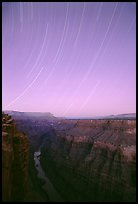 Star trails and narrow gorge of  Colorado River at Toroweap. Grand Canyon National Park, Arizona, USA.