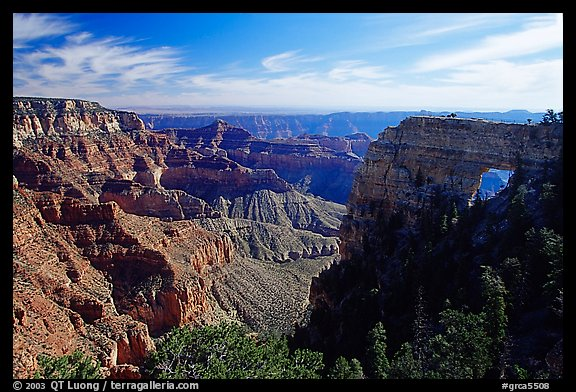 Cliffs and Angel's Arch near Cape Royal, morning. Grand Canyon National Park (color)