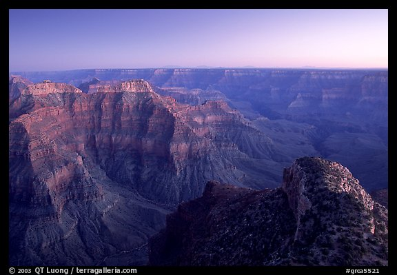 View from Point Sublime, dusk. Grand Canyon National Park, Arizona, USA.