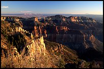 Cliffs seen from Point Imperial at sunrise. Grand Canyon National Park, Arizona, USA. (color)