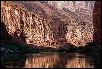 Cliffs and reflections in Marble Canyon, early morning. Grand Canyon National Park ( color)