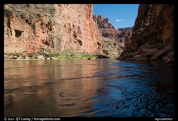 Colorado River flowing between steep cliffs in Marble Canyon. Grand Canyon National Park (color)