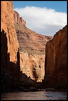 Canyon walls and shadows in late afternoon, Marble Canyon. Grand Canyon National Park ( color)