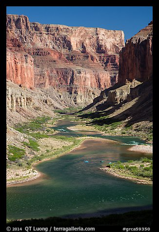 Distant rafts on the Colorado River. Grand Canyon National Park (color)