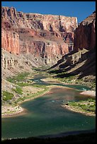 Distant rafts on the Colorado River. Grand Canyon National Park ( color)