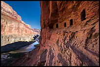 Ancient Nankoweap granaries and Colorado River,. Grand Canyon National Park ( color)