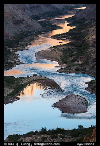 Reflections on the meanders of the Colorado River, Nankoweap. Grand Canyon National Park (color)