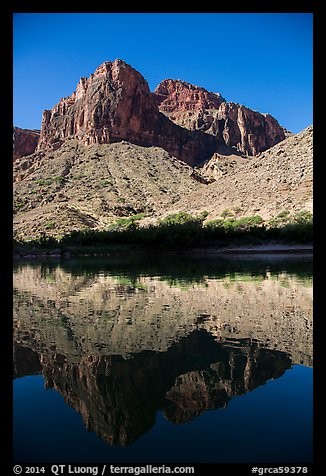 Buttes and reflections in Colorado River. Grand Canyon National Park, Arizona, USA.