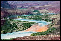 Colorado River meanders in most open part of Grand Canyon. Grand Canyon National Park ( color)