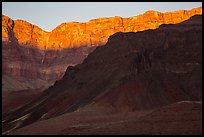 Last light illuminates cliffs of South Rim. Grand Canyon National Park ( color)