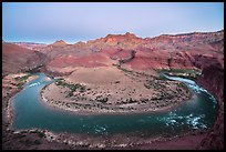 Colorado River bend at Unkar Rapids, dawn. Grand Canyon National Park, Arizona, USA.