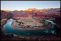 Colorado River bend at Unkar Rapids, sunrise. Grand Canyon National Park, Arizona, USA.