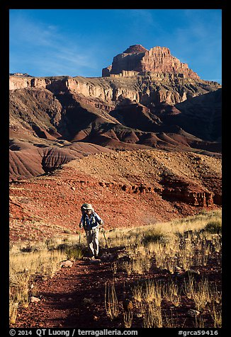 Backpacker, Escalante Route trail. Grand Canyon National Park (color)
