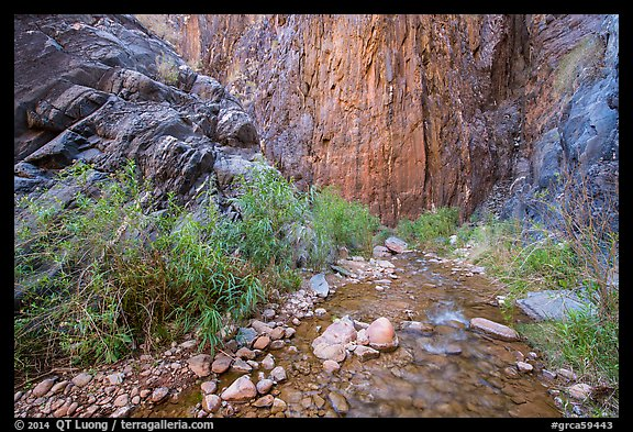 Cliffs and stream, Clear Creek. Grand Canyon National Park (color)