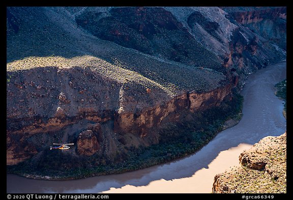 Helicopter at bottom of Grand Canyon, Whitmore Wash. Grand Canyon National Park (color)