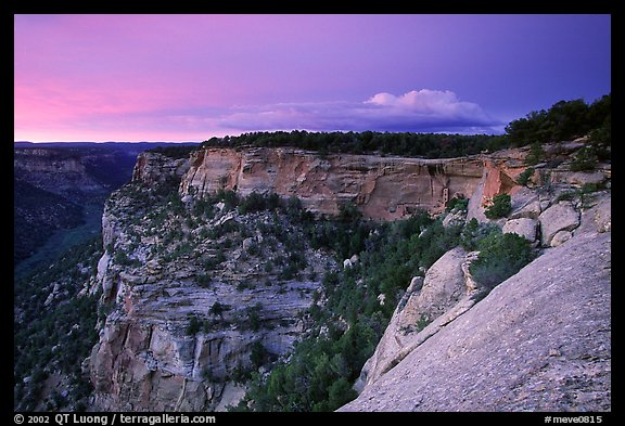 Square Tower house and Long Mesa, dusk. Mesa Verde National Park (color)