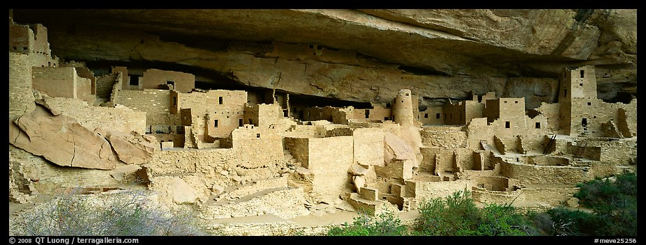 Cliff Palace, largest cliff dwelling in North America. Mesa Verde National Park (color)