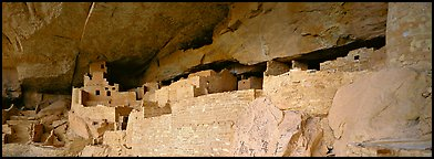 Cliff Palace, largest Anasazi cliff dwelling. Mesa Verde National Park (Panoramic color)