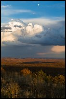 Moon, thunderstorm cloud over mesas at sunset. Mesa Verde National Park ( color)