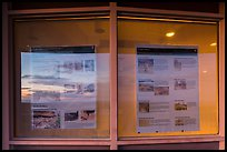 Sunset and attractions listings, Far View visitor center window reflexion. Mesa Verde National Park ( color)