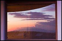 Mesa at sunset, Far View visitor center window reflexion. Mesa Verde National Park ( color)