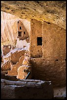 Side view of structures abutting cliff, Long House. Mesa Verde National Park ( color)