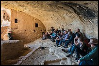Ranger talks during guided tour of Long House. Mesa Verde National Park ( color)
