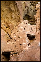 Crows Nest perched high in cliff crevice, Square Tower House. Mesa Verde National Park ( color)