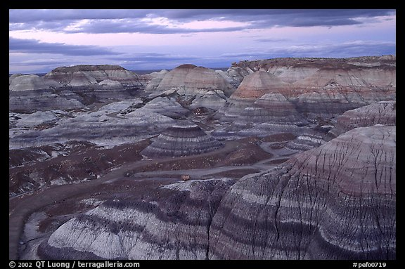 Multi-hued badlands of Blue Mesa, sunset. Petrified Forest National Park (color)