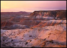 Badlands at sunset, Painted Desert. Petrified Forest National Park, Arizona, USA. (color)