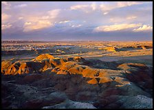 Painted desert seen from Chinde Point, stormy sunset. Petrified Forest National Park ( color)