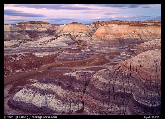 Blue Mesa basin at dusk. Petrified Forest National Park, Arizona, USA.