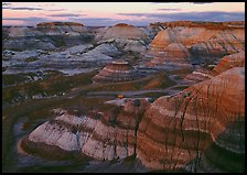 Blue Mesa basin at sunset. Petrified Forest National Park ( color)